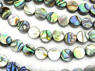 天然石卸 1連980円!アバロンシェル(鮑) コイン6×6×3mm 1連(約38cm)