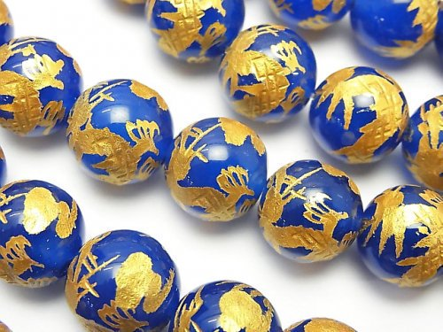 金色!青龍(四神獣)の彫刻入り!ブルーアゲート ラウンド12mm 半連/1連(約35cm)
