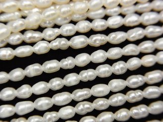 1連480円!極小淡水真珠ケシパールAA ライス3×2×2mm ホワイト 1連(約33cm)