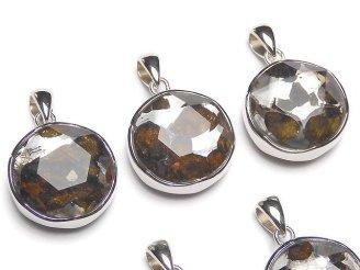 天然石卸 稀少!ケニア産セリコパラサイト隕石 ペンダントトップ 両面仕上げ17mm SILVER925製
