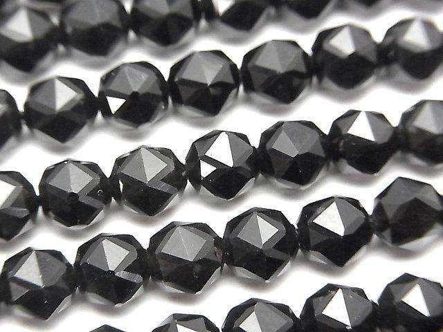 【素晴らしい輝き】チベット産モリオン(黒水晶)AAA スターラウンドカット6mm 1連(約37cm)