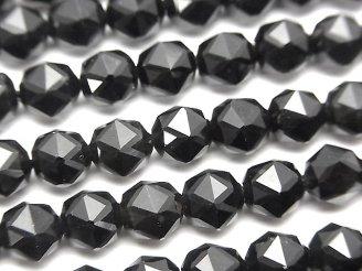 素晴らしい輝き!1連1,380円!チベット産モリオン(黒水晶)AAA スターラウンドカット6mm 1連(約38cm)