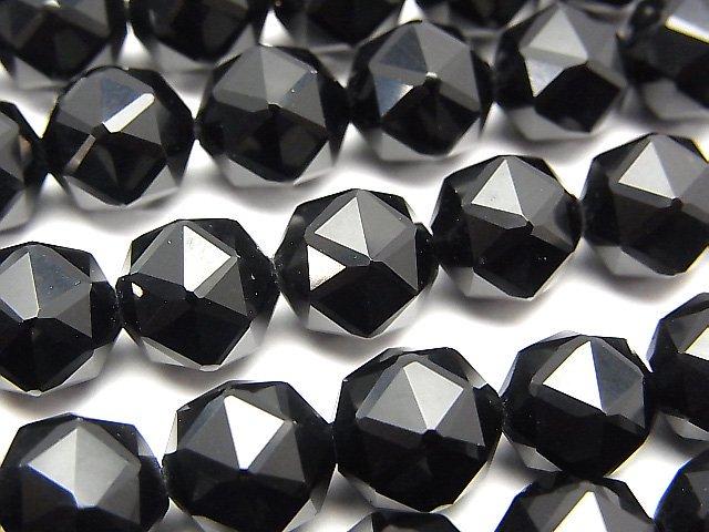 【動画】【素晴らしい輝き】チベット産モリオン(黒水晶)AAA スターラウンドカット10mm 半連/1連(約37cm)