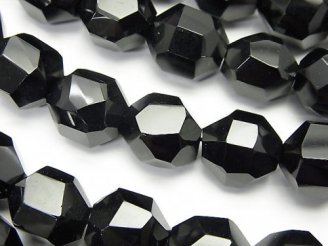 天然石卸 素晴らしい輝き!オニキスAAA タンブルカット 半連/1連(約38cm)