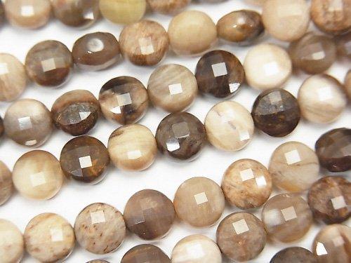 【素晴らしい輝き】ペトリファイドウッド(珪化石) コインカット6×6×3.5mm 1連(約38cm)