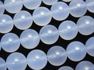 天然石卸 天然色ブルーカルセドニーAAA ラウンド10mm 1/4連〜1連(約38cm)