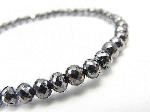 【1点もの】【1mm穴】 ブラックダイヤモンドAAA ボタンカット 1連(ブレス) NO.73