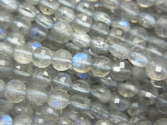 天然石卸 素晴らしい輝き!1連980円!ブルーラブラドライトAA++ コインカット4×4×3mm 1連(約38cm)
