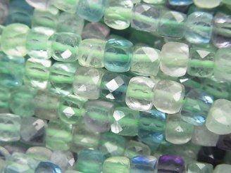 天然石卸 素晴らしい輝き!1連1,680円!マルチカラー フローライトAA++ キューブカット4×4×4mm 1連(約37cm)