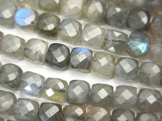 天然石卸 素晴らしい輝き!宝石質ラブラドライトAA++ キューブカット5×5×5mm 半連/1連(約37cm)