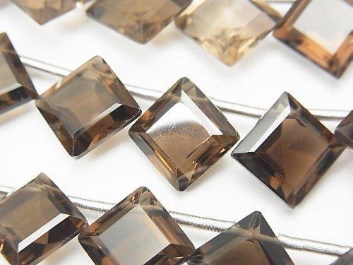 宝石質スモーキークォーツAAA ダイヤファセットカット14×14mm 1連(10粒)
