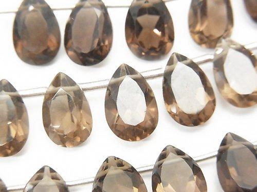 宝石質スモーキークォーツAAA ペアシェイプ ファセットカット12×8×5mm 半連/1連(18粒)