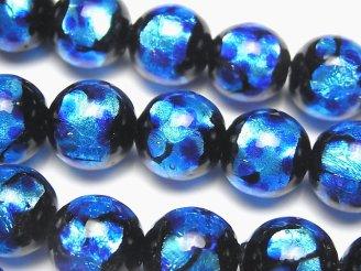 天然石卸 とんぼ玉 ラウンド14mm 【ブルー×ライトブルー】 1/4連〜1連(約33cm)