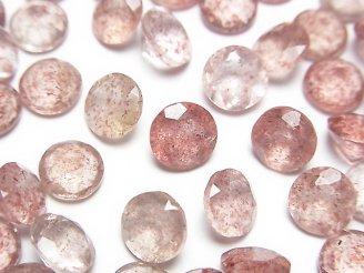 天然石卸 宝石質ピンクエピドートAAA 穴なしラウンドファセットカット7×7×4mm 10粒880円!