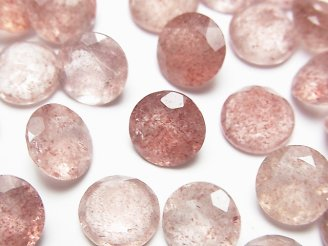 天然石卸 宝石質ピンクエピドートAAA 穴なしラウンドファセットカット10×10×6mm 5粒1,180円!