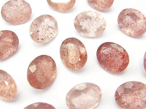 宝石質ピンクエピドートAAA 穴なしオーバルファセットカット12×10mm 4粒