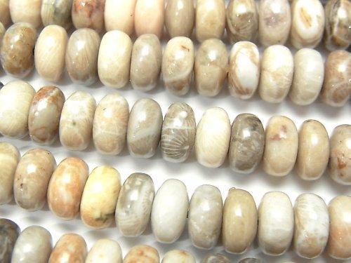 【動画】フォシルコーラル(化石珊瑚) ロンデル(ボタン)8×8×4mm 半連/1連(約38cm)