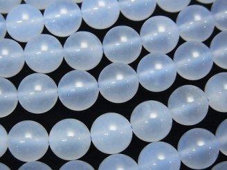 天然石卸 天然色ブルーカルセドニーAA++ ラウンド8mm 半連/1連(約38cm)