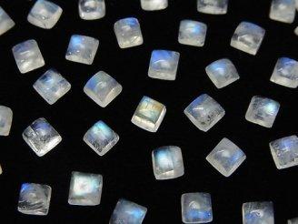 天然石卸 宝石質レインボームーンストーンAA++ スクエア カボション4×4mm 10個380円!