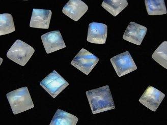 天然石卸 宝石質レインボームーンストーンAA++ スクエア カボション6×6mm 5個580円!