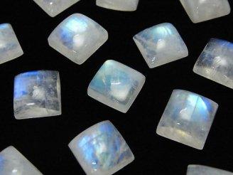 天然石卸 宝石質レインボームーンストーンAA++ スクエア カボション10×10mm 4個1,180円!
