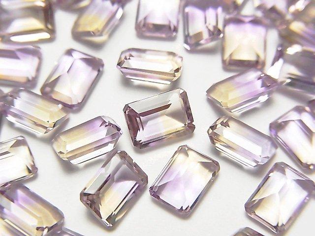 宝石質アメトリンAAA 穴なしレクタングルファセットカット7×5×4mm 3粒