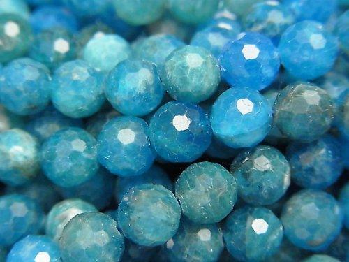 【素晴らしい輝き】ブルーアパタイトAA++ 128面ラウンドカット6.5mm 1連(約37cm)