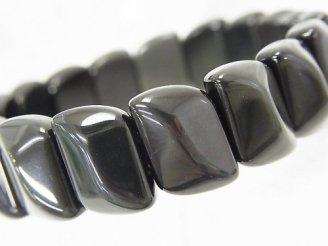 天然石卸 メキシコ産ブラックオブシディアンAAA 2つ穴リーフ14×10×6mm 1連(ブレス)