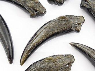 天然石卸 1個980円!メキシコ産ゴールデンシャインオブシディアンAAA オオカミ・ファング(牙) 1個