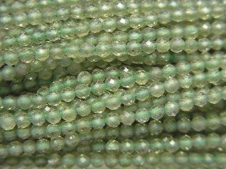 【動画】【素晴らしい輝き】宝石質グリーンアパタイトAAA ラウンドカット2.5〜3mm 1連(約31cm)