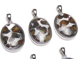 天然石卸 稀少!ケニア産セリコパラサイト隕石 オーバル ペンダントトップ22×17mm SILVER925製