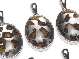 天然石卸 稀少!ケニア産セリコパラサイト隕石 オーバル ペンダントトップ27×20mm SILVER925製