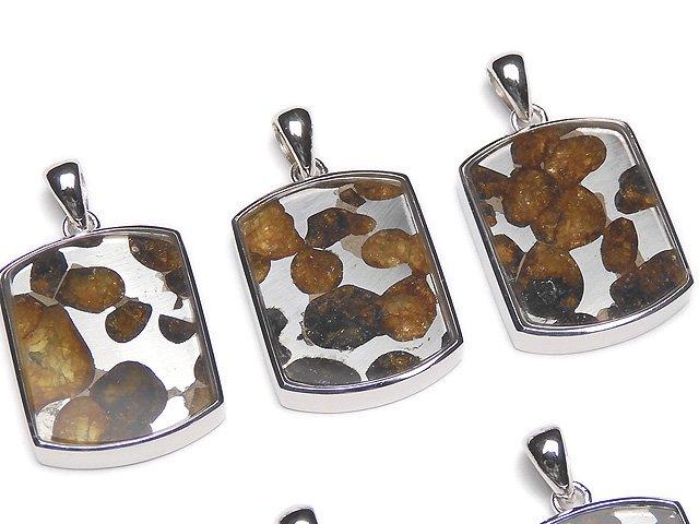 【動画】希少!ケニア産セリコパラサイト隕石 レクタングル ペンダントトップ22×17mm SILVER925製
