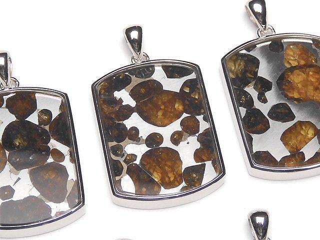 【動画】希少!ケニア産セリコパラサイト隕石 レクタングル ペンダントトップ27×20mm SILVER925製