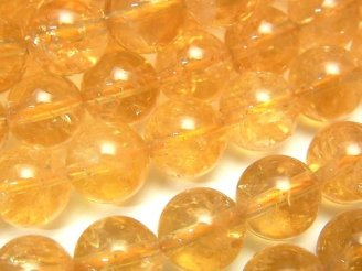 天然石卸 ウルグアイ産シトリンAA++ ラウンド10mm 1/4連〜1連(約38cm)