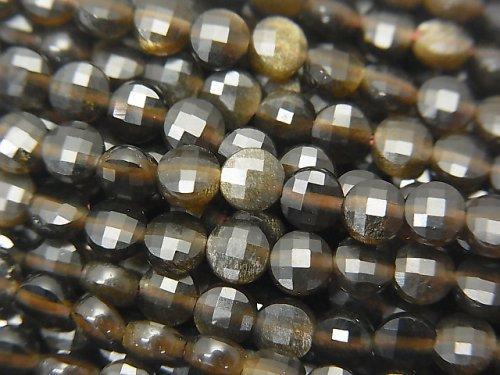 【素晴らしい輝き】ゴールデンシャインオブシディアンAAA コインカット4×4×2mm 1連(約37cm)