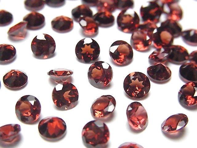 宝石質モザンビーク産ガーネットAAA 穴なしラウンドファセットカット5×5×3mm 5粒