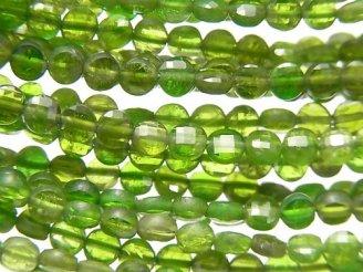 天然石卸 素晴らしい輝き!クロムダイオプサイドAA++ コインカット4×4×2mm 半連/1連(約37cm)