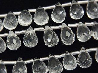 天然石卸 宝石質クリスタルAAA ドロップ ブリオレットカット9×6×6mm 半連/1連(約16cm)