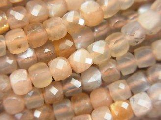 天然石卸 素晴らしい輝き!シルバーシャイン ブラウン&グレームーンストーンAA++ キューブカット4×4×4mm 半連/1連(約37cm)