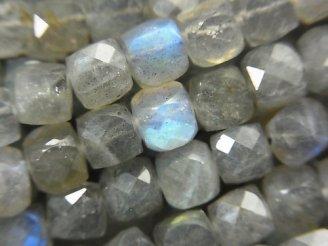 天然石卸 素晴らしい輝き!宝石質ラブラドライトAA++ キューブカット6×6×6mm 半連/1連(約37cm)