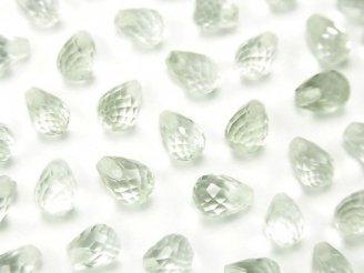 天然石卸 宝石質グリーンアメジストAAA 片穴ドロップカット6×4mm 6粒380円!