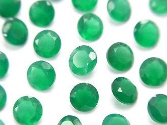 天然石卸 宝石質グリーンオニキスAAA 穴なしラウンドファセットカット6×6mm 10粒580円!