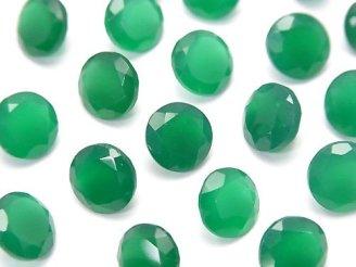天然石卸 宝石質グリーンオニキスAAA 穴なしラウンドファセットカット8×8mm 5粒780円!