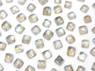天然石卸 宝石質ラブラドライトAAA- スクエア カボション3×3mm 20個380円!