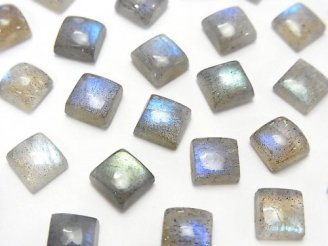 天然石卸 宝石質ラブラドライトAAA- スクエア カボション6×6mm 5個580円!