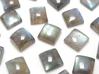 天然石卸 宝石質ラブラドライトAAA- スクエア カボション10×10mm 4個1,180円!