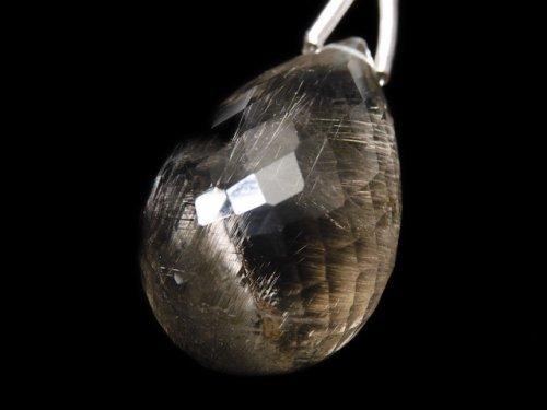 【動画】【1点もの】宝石質ルチルクォーツAAA 大粒ドロップ ブリオレットカット 1粒 NO.131