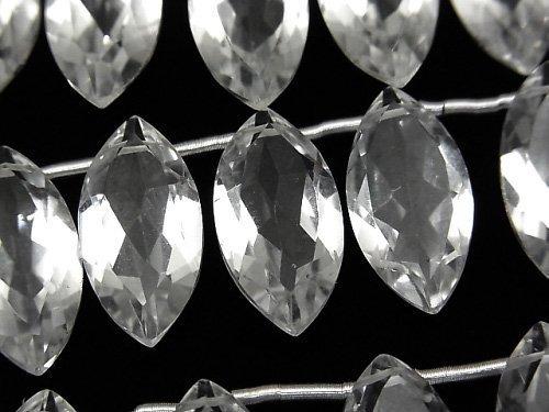 宝石質クリスタルAAA マーキスファセットカット20×10×6mm 半連/1連(8粒)