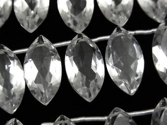 天然石卸 宝石質クリスタルAAA マーキスファセットカット20×10×6.5mm 半連/1連(8粒)